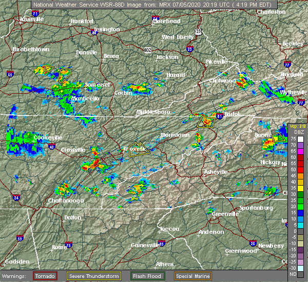 Radar Image for Severe Thunderstorms near Oak Grove, TN at 7/5/2020 4:25 PM EDT