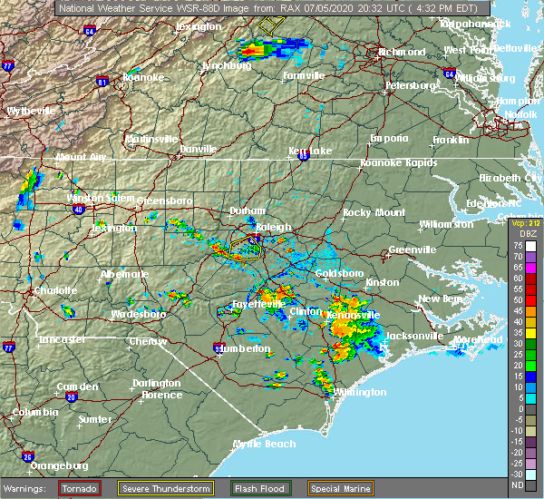 Radar Image for Severe Thunderstorms near Apex, NC at 7/5/2020 4:47 PM EDT