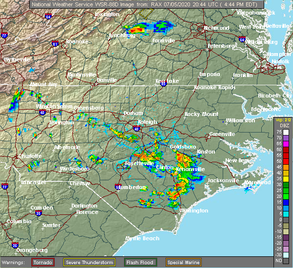 Radar Image for Severe Thunderstorms near Fuquay-Varina, NC at 7/5/2020 4:54 PM EDT