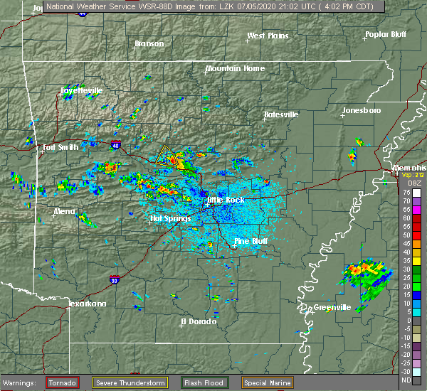 Radar Image for Severe Thunderstorms near Atkins, AR at 7/5/2020 4:04 PM CDT