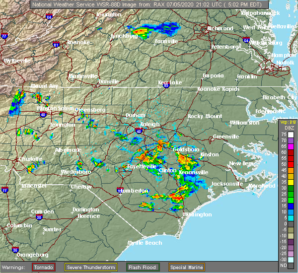 Radar Image for Severe Thunderstorms near Smithfield, NC at 7/5/2020 5:07 PM EDT