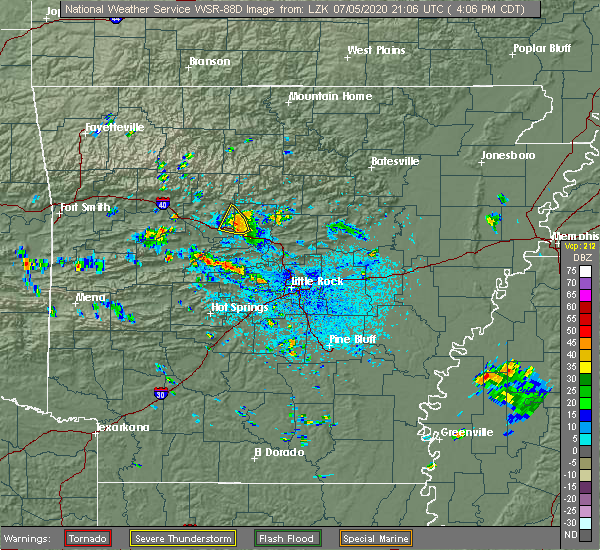 Radar Image for Severe Thunderstorms near Atkins, AR at 7/5/2020 4:10 PM CDT