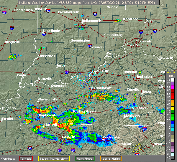 Radar Image for Severe Thunderstorms near Buffalo, KY at 7/5/2020 5:18 PM EDT
