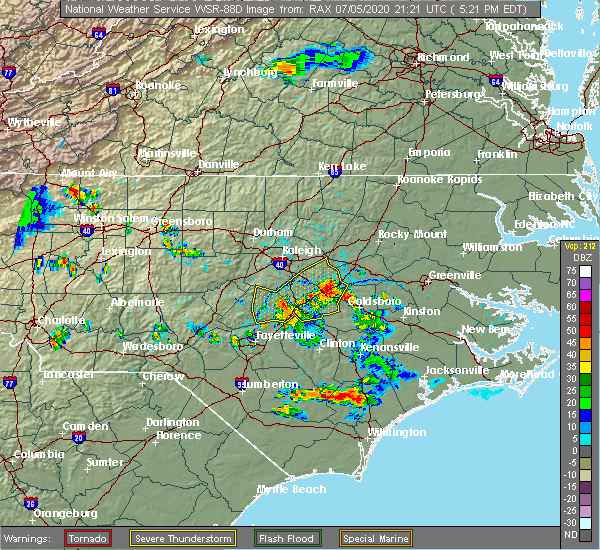 Radar Image for Severe Thunderstorms near Smithfield, NC at 7/5/2020 5:25 PM EDT