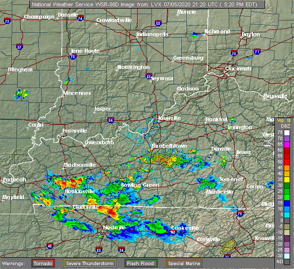 Radar Image for Severe Thunderstorms near Buffalo, KY at 7/5/2020 5:25 PM EDT