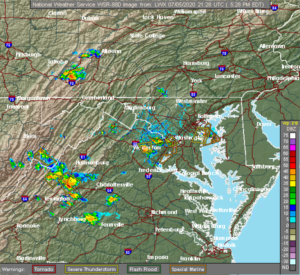 Radar Image for Severe Thunderstorms near Crownsville, MD at 7/5/2020 5:32 PM EDT