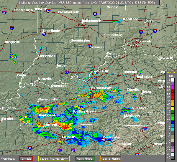 Radar Image for Severe Thunderstorms near Buffalo, KY at 7/5/2020 5:37 PM EDT