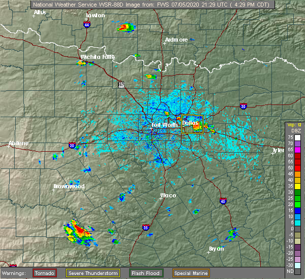 Radar Image for Severe Thunderstorms near Balch Springs, TX at 7/5/2020 4:38 PM CDT