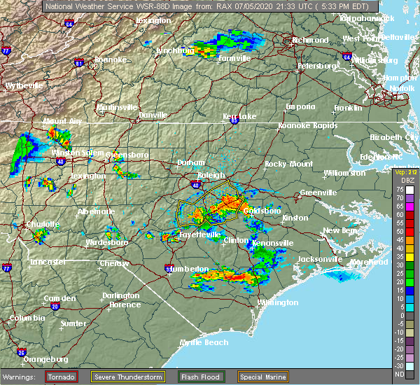 Radar Image for Severe Thunderstorms near Smithfield, NC at 7/5/2020 5:39 PM EDT