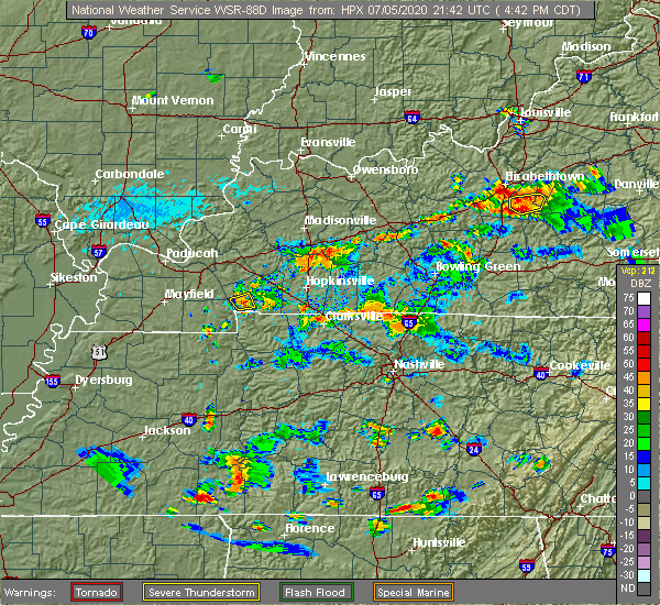 Radar Image for Severe Thunderstorms near Clarksville, TN at 7/5/2020 4:47 PM CDT