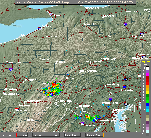 Radar Image for Severe Thunderstorms near Shanksville, PA at 7/5/2020 6:36 PM EDT