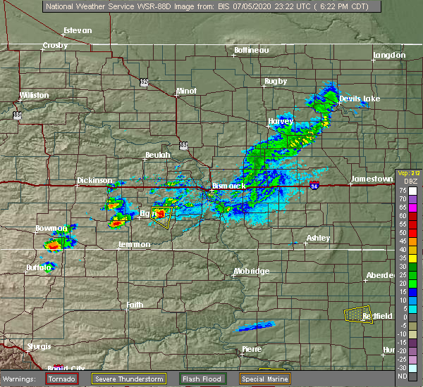 Radar Image for Severe Thunderstorms near Bucyrus, ND at 7/5/2020 5:27 PM MDT