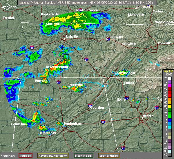 Radar Image for Severe Thunderstorms near Huntsville, AL at 7/5/2020 6:37 PM CDT
