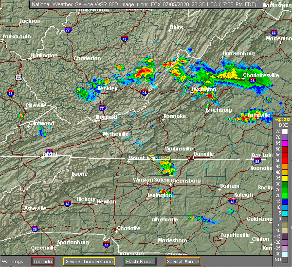 Radar Image for Severe Thunderstorms near Stoneville, NC at 7/5/2020 7:40 PM EDT
