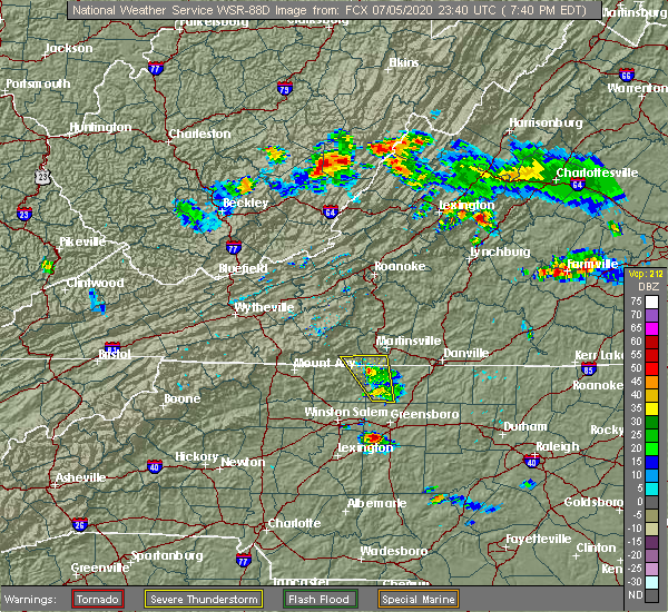 Radar Image for Severe Thunderstorms near Winston-Salem, NC at 7/5/2020 7:43 PM EDT
