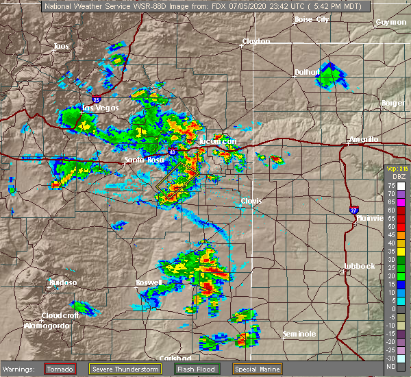 Radar Image for Severe Thunderstorms near House, NM at 7/5/2020 5:44 PM MDT