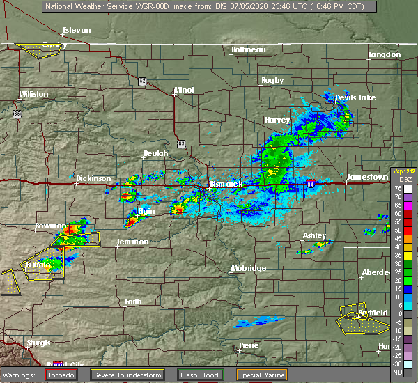 Radar Image for Severe Thunderstorms near Bucyrus, ND at 7/5/2020 5:47 PM MDT