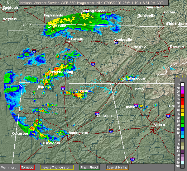 Radar Image for Severe Thunderstorms near Gurley, AL at 7/5/2020 6:56 PM CDT