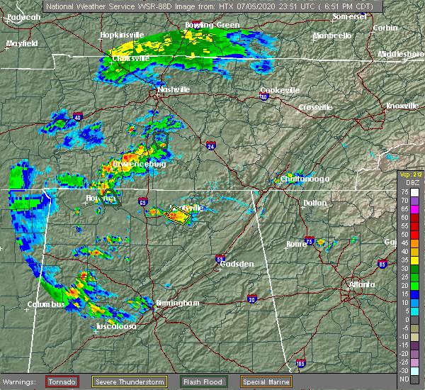Radar Image for Severe Thunderstorms near Huntsville, AL at 7/5/2020 6:56 PM CDT