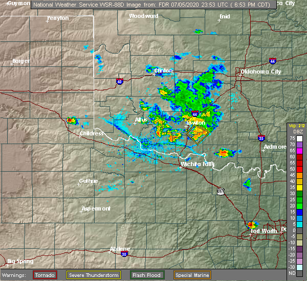 Radar Image for Severe Thunderstorms near Central High, OK at 7/5/2020 6:56 PM CDT