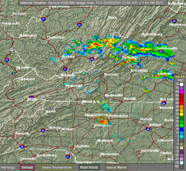 Radar Image for Severe Thunderstorms near Winston-Salem, NC at 7/5/2020 7:59 PM EDT