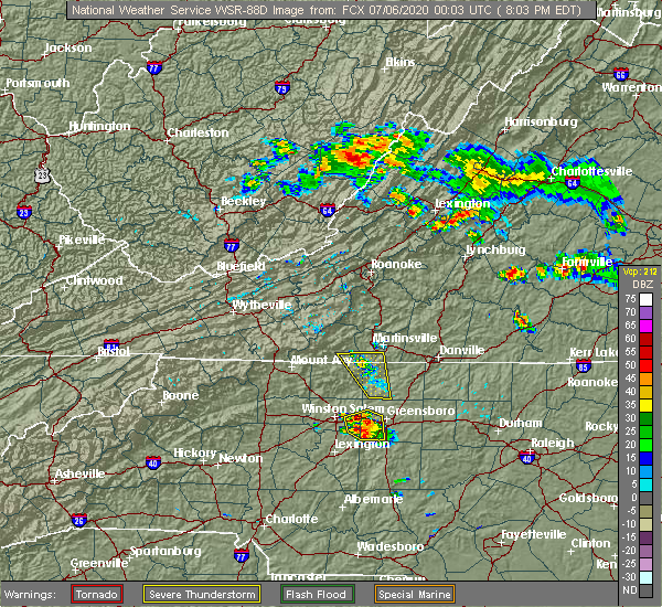 Radar Image for Severe Thunderstorms near Stoneville, NC at 7/5/2020 8:08 PM EDT