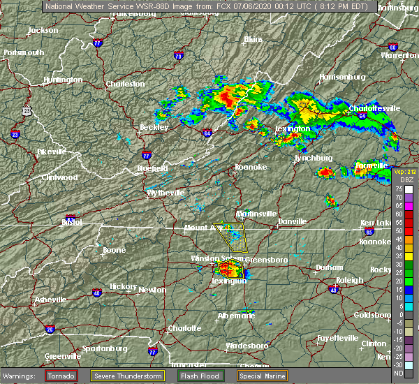 Radar Image for Severe Thunderstorms near Winston-Salem, NC at 7/5/2020 8:19 PM EDT
