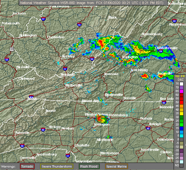 Radar Image for Severe Thunderstorms near Winston-Salem, NC at 7/5/2020 8:24 PM EDT