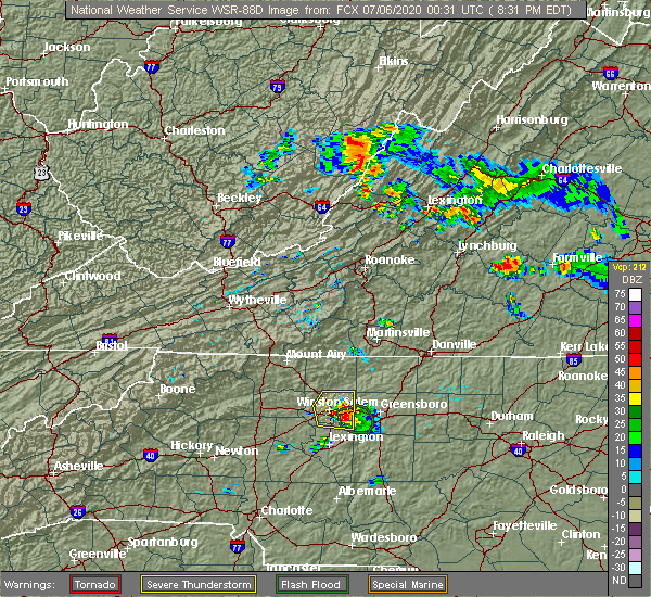 Radar Image for Severe Thunderstorms near Winston-Salem, NC at 7/5/2020 8:33 PM EDT