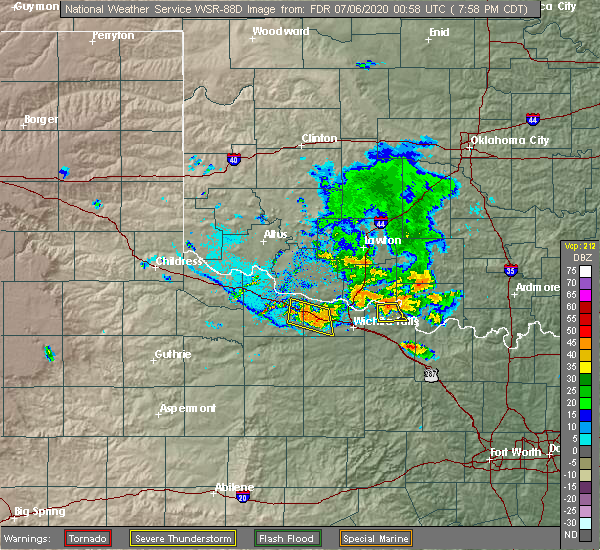 Radar Image for Severe Thunderstorms near Byers, TX at 7/5/2020 8:00 PM CDT