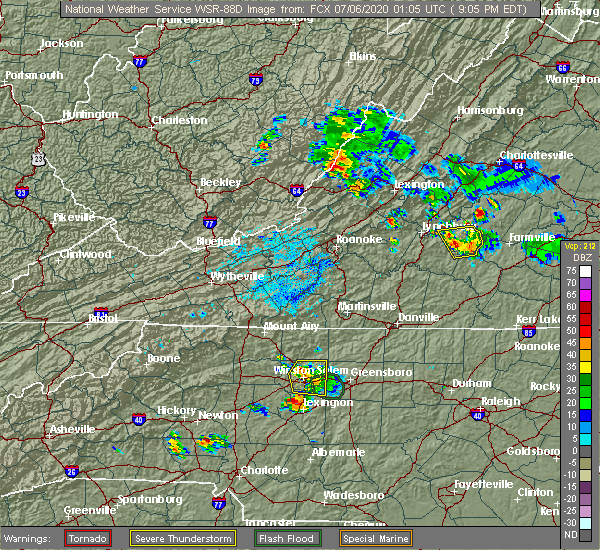 Radar Image for Severe Thunderstorms near Winston-Salem, NC at 7/5/2020 9:10 PM EDT