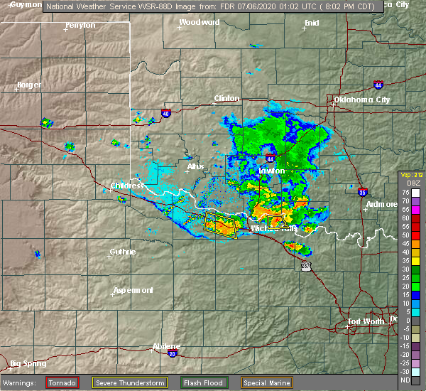 Radar Image for Severe Thunderstorms near Electra, TX at 7/5/2020 8:11 PM CDT