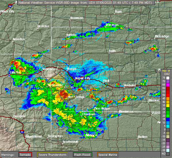 Radar Image for Severe Thunderstorms near Hill City, SD at 7/5/2020 7:53 PM MDT