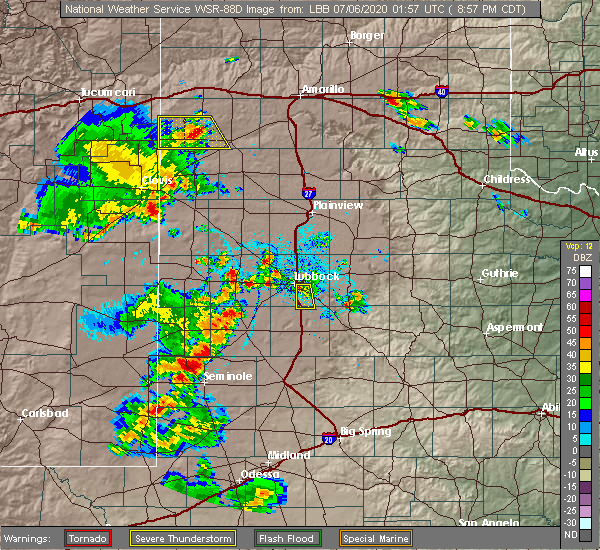 Radar Image for Severe Thunderstorms near Lubbock, TX at 7/5/2020 9:00 PM CDT