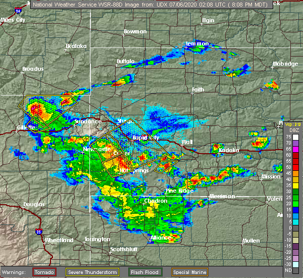 Radar Image for Severe Thunderstorms near Beulah, WY at 7/5/2020 8:13 PM MDT