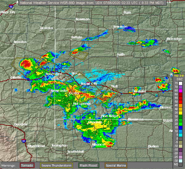 Radar Image for Severe Thunderstorms near Beulah, WY at 7/5/2020 8:35 PM MDT