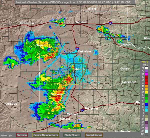 Radar Image for Severe Thunderstorms near New Deal, TX at 7/5/2020 9:50 PM CDT