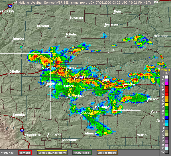 Radar Image for Severe Thunderstorms near Beulah, WY at 7/5/2020 9:08 PM MDT