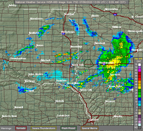 Radar Image for Severe Thunderstorms near Madison, SD at 7/6/2020 8:13 AM CDT