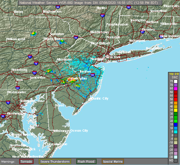 Radar Image for Severe Thunderstorms near Burlington, NJ at 7/6/2020 1:02 PM EDT