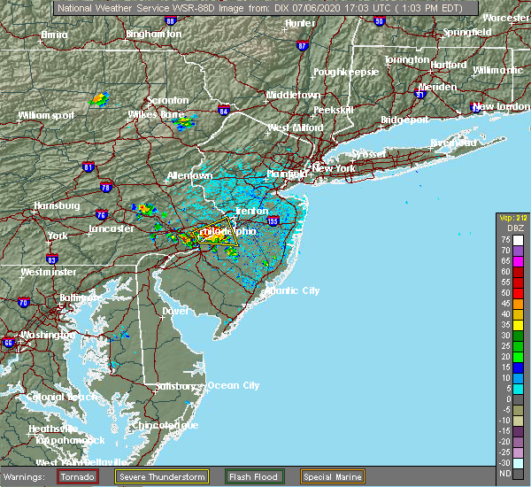 Radar Image for Severe Thunderstorms near Burlington, NJ at 7/6/2020 1:09 PM EDT
