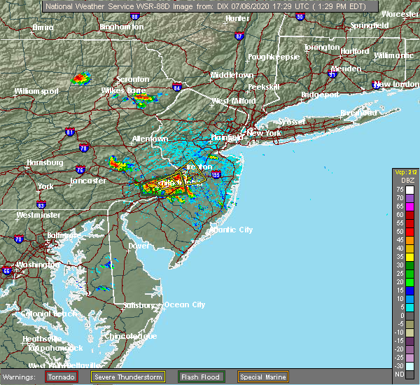 Radar Image for Severe Thunderstorms near Yardley, PA at 7/6/2020 1:36 PM EDT