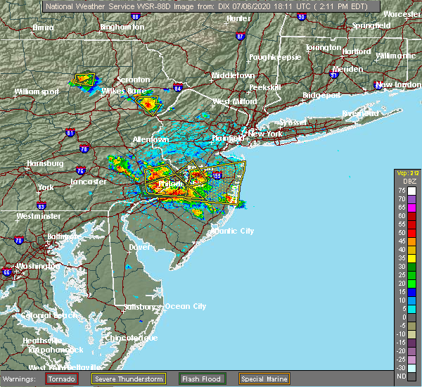 Radar Image for Severe Thunderstorms near Hightstown, NJ at 7/6/2020 2:22 PM EDT