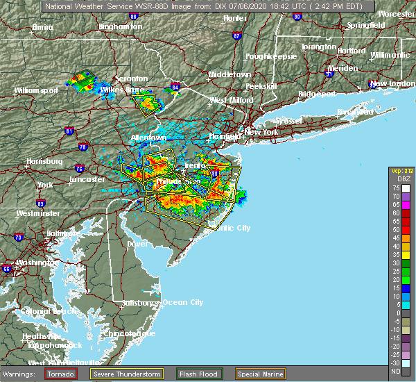 Radar Image for Severe Thunderstorms near Englishtown, NJ at 7/6/2020 2:54 PM EDT