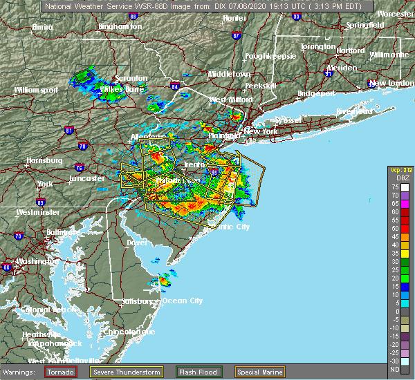 Radar Image for Severe Thunderstorms near Turnersville, NJ at 7/6/2020 3:27 PM EDT