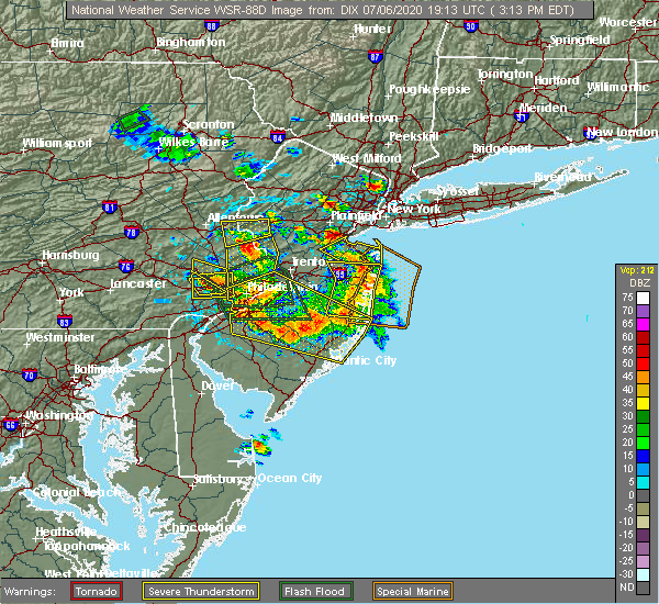 Radar Image for Severe Thunderstorms near Clayton, NJ at 7/6/2020 3:27 PM EDT