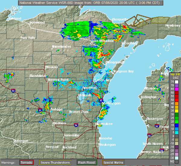 Radar Image for Severe Thunderstorms near Reedsville, WI at 7/6/2020 3:11 PM CDT
