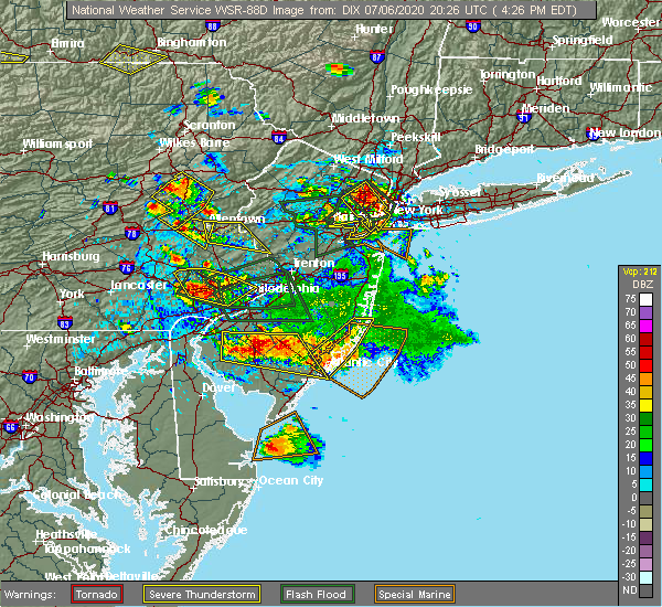 Radar Image for Severe Thunderstorms near Fullerton, PA at 7/6/2020 4:34 PM EDT