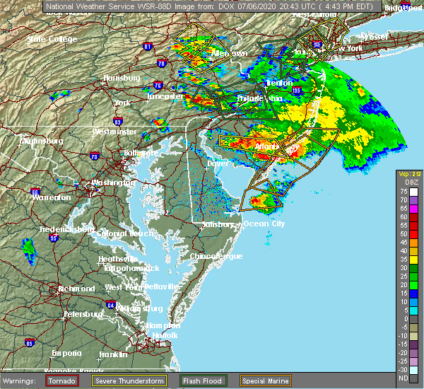 Radar Image for Severe Thunderstorms near Sea Isle City, NJ at 7/6/2020 4:48 PM EDT