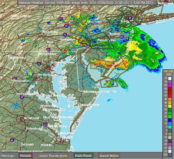 Radar Image for Severe Thunderstorms near Sea Isle City, NJ at 7/6/2020 5:25 PM EDT